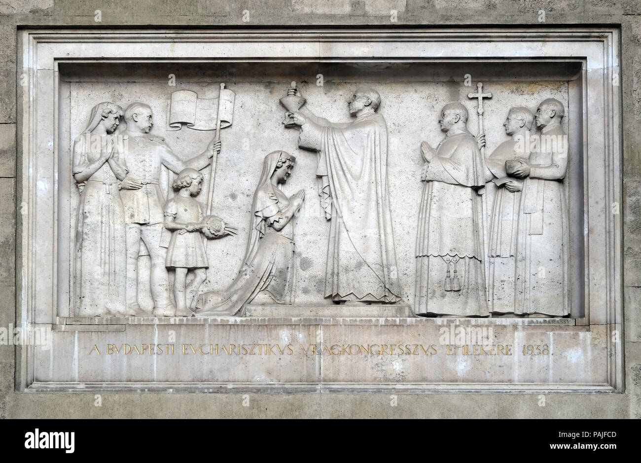 The Eucharistic Congress in Budapest in 1938, bass relief on the Saint Stephen`s Basilica in Budapest, Hungary Stock Photo