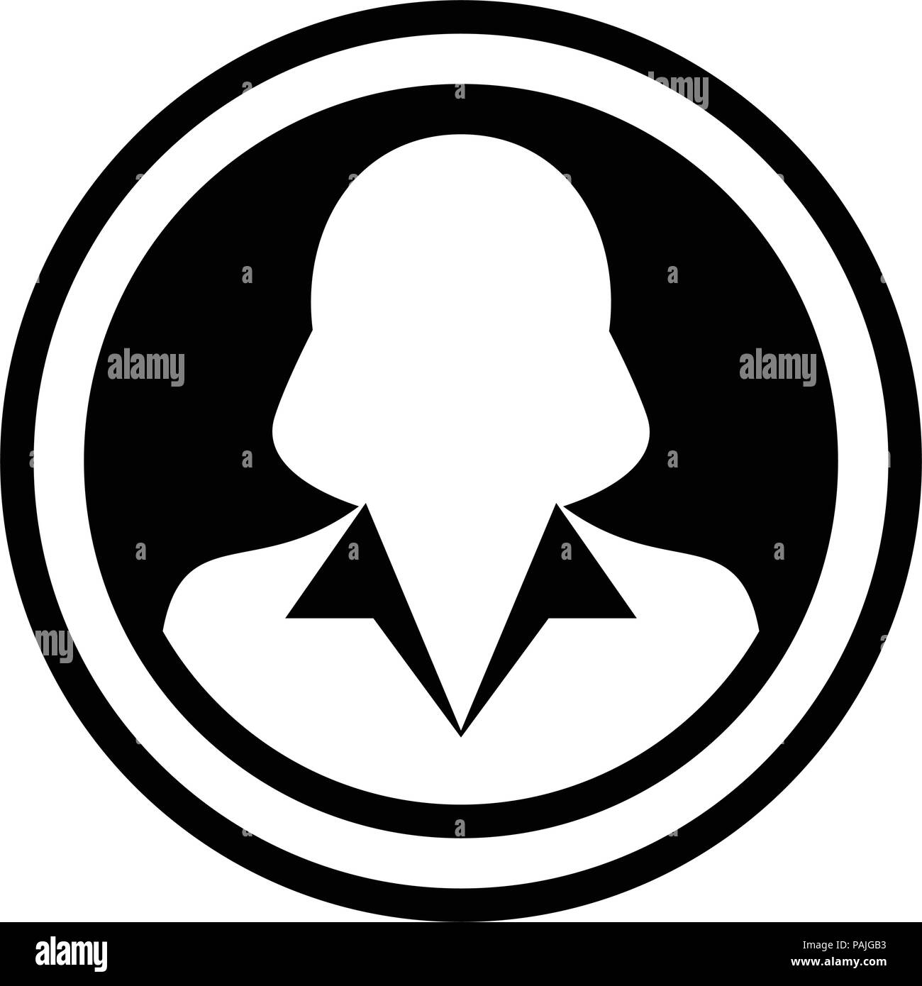 Avatar icon vector female person symbol circle user profile avatar sign in flat color glyph pictogram illustration - Stock Image