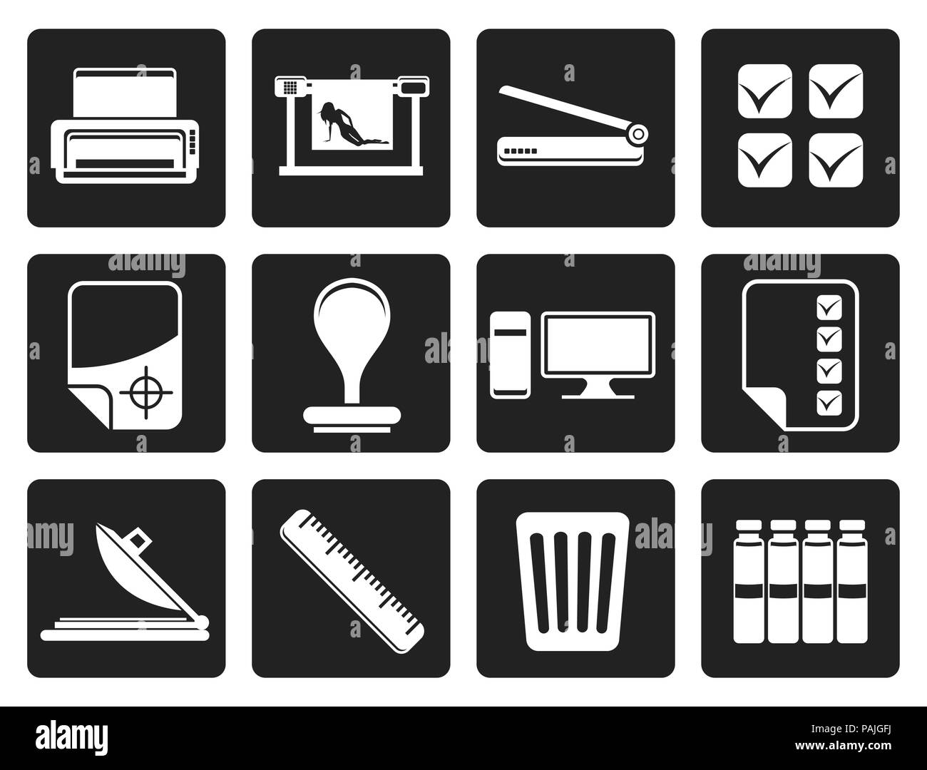 Black Print industry Icons - Vector icon set - Stock Image