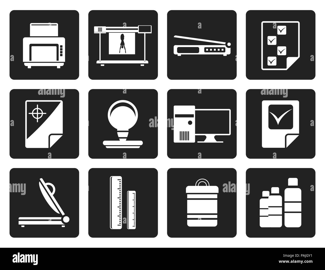 Black Print industry Icons - Vector icon set 2 - Stock Image