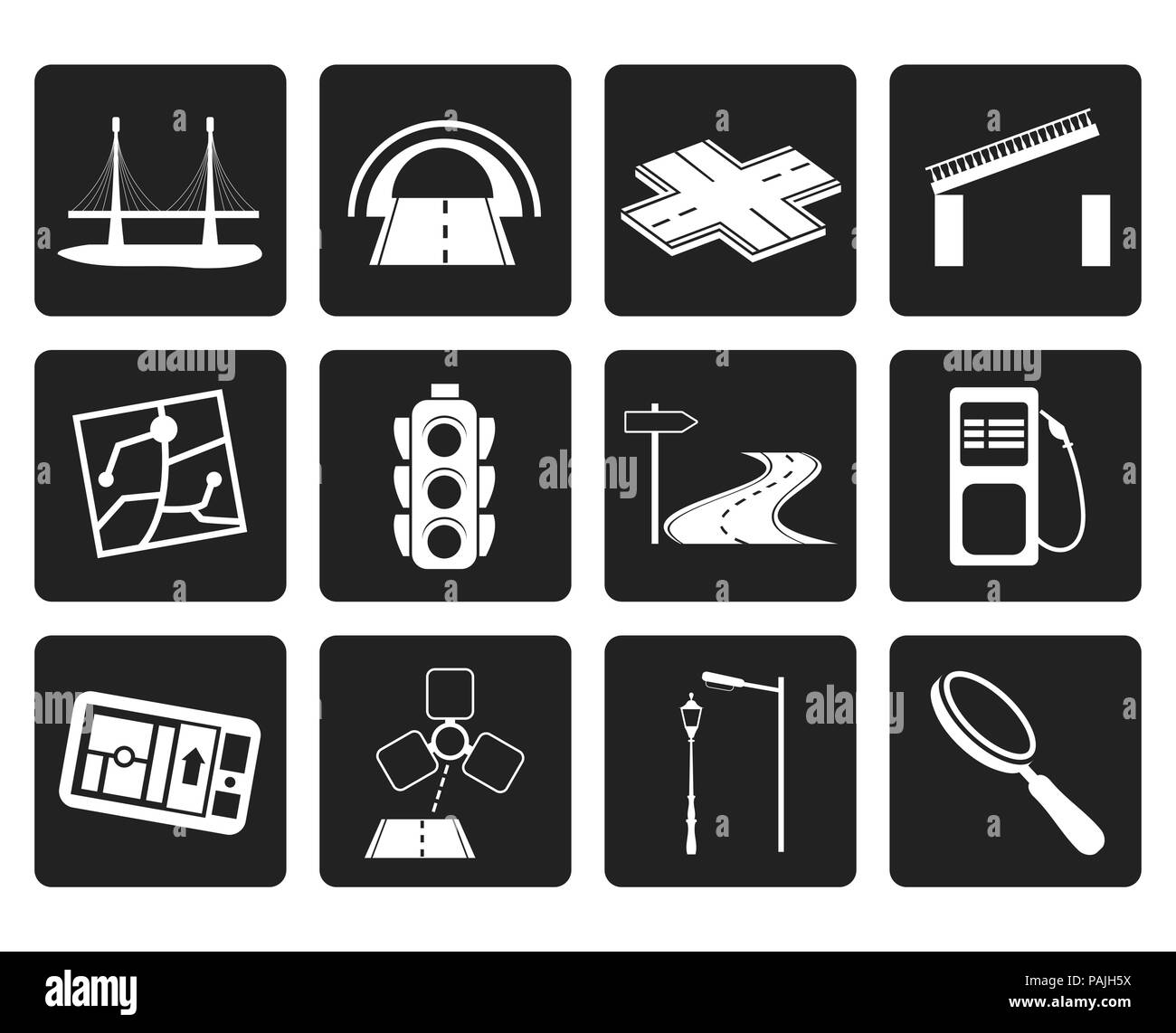 Black Road, navigation and travel icons - vector icon set - Stock Image