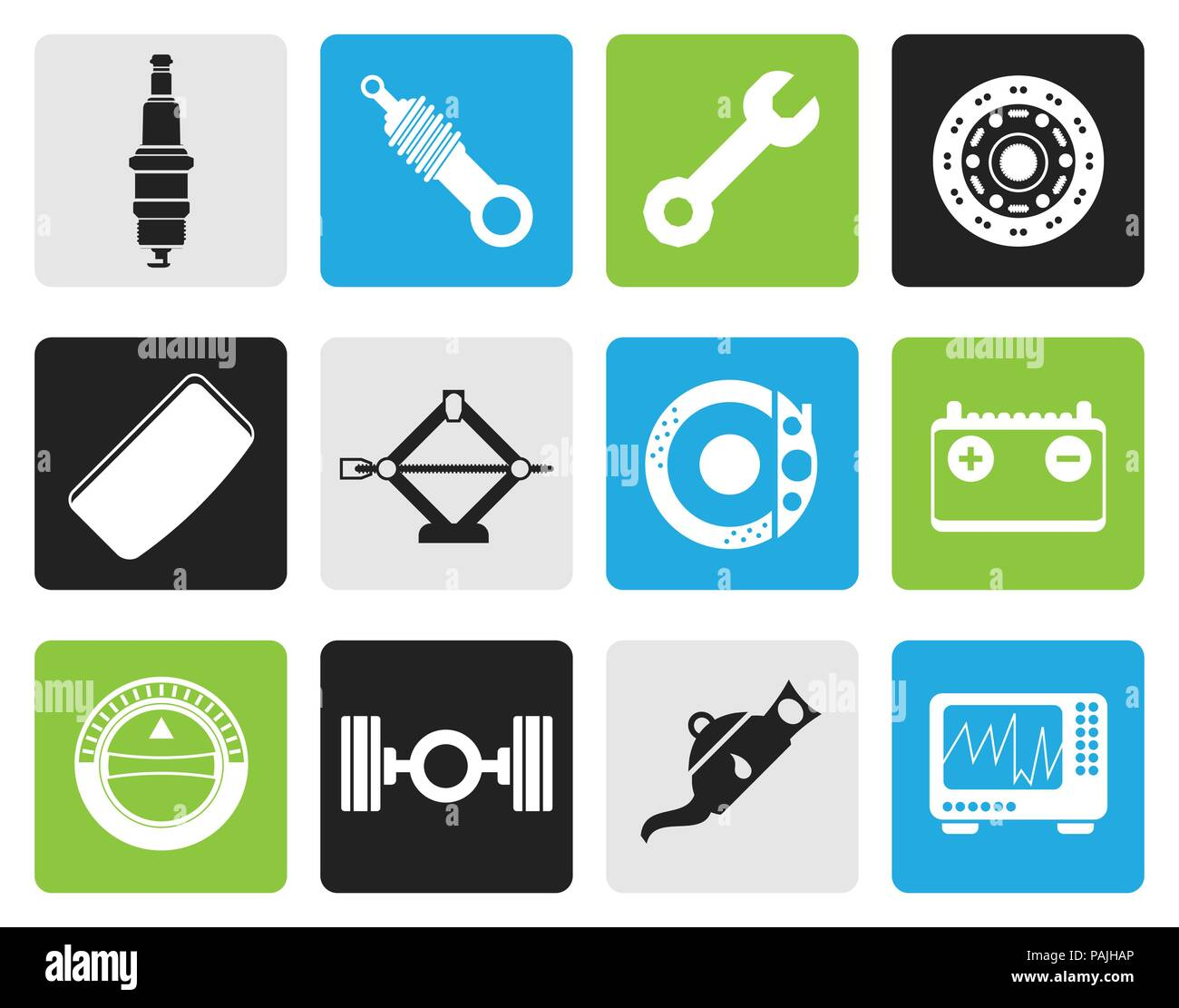 Black Realistic Car Parts and Services icons - Vector Icon Set 1 Stock Vector