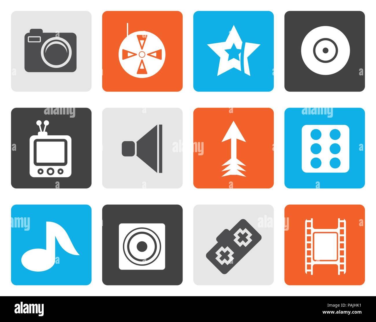 Flat Entertainment Icons - Vector Icon Set Stock Vector