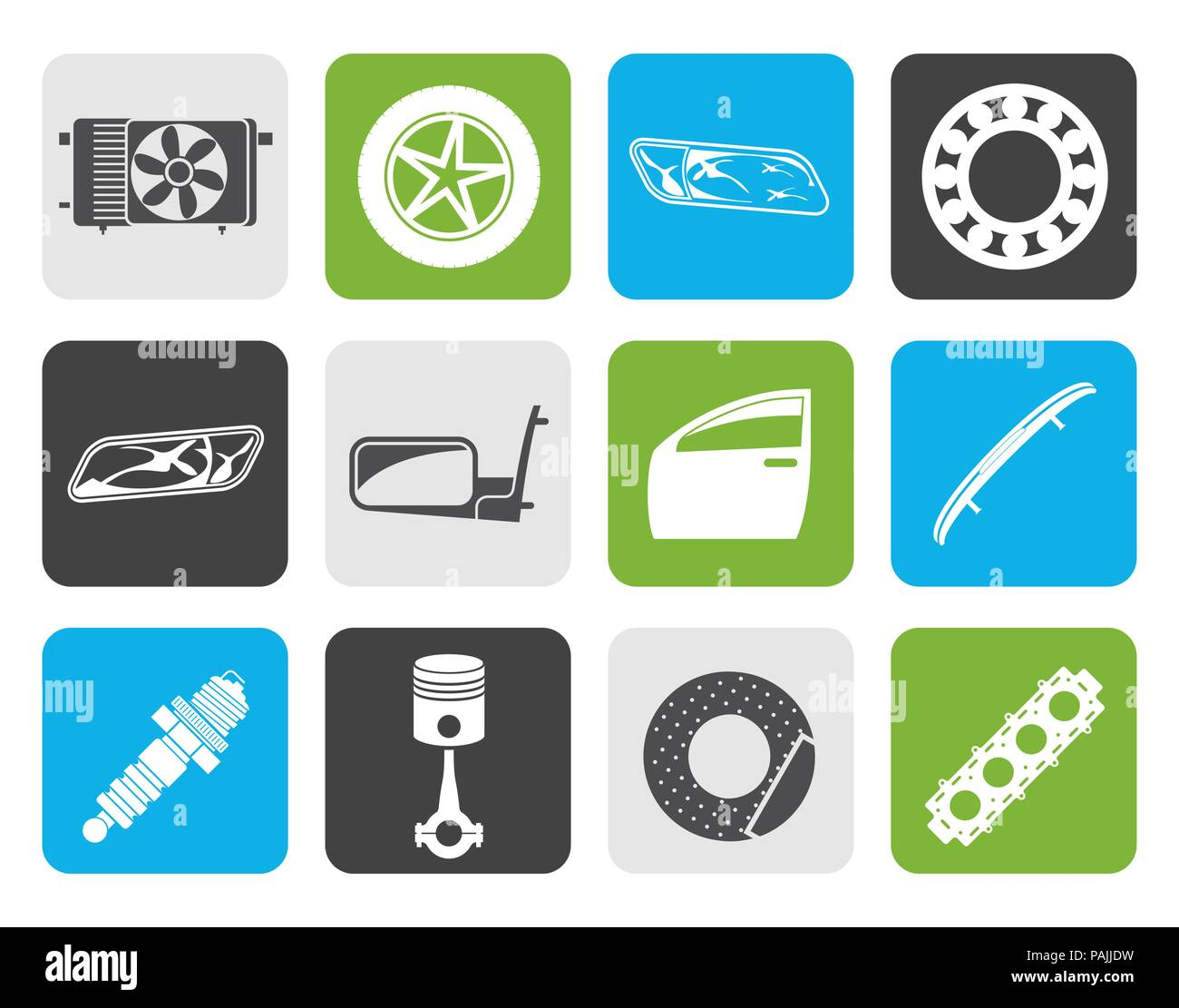 Flat Realistic Car Parts and Services icons - Vector Icon Set 1 - Stock Vector