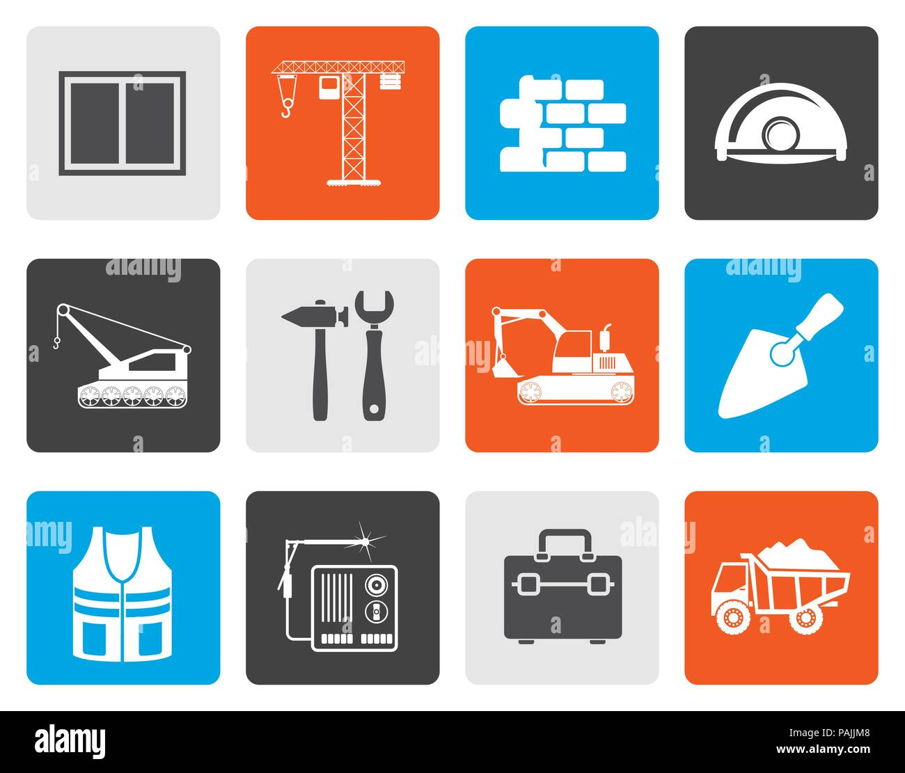 Flat building and construction icons - vector icon set - Stock Vector