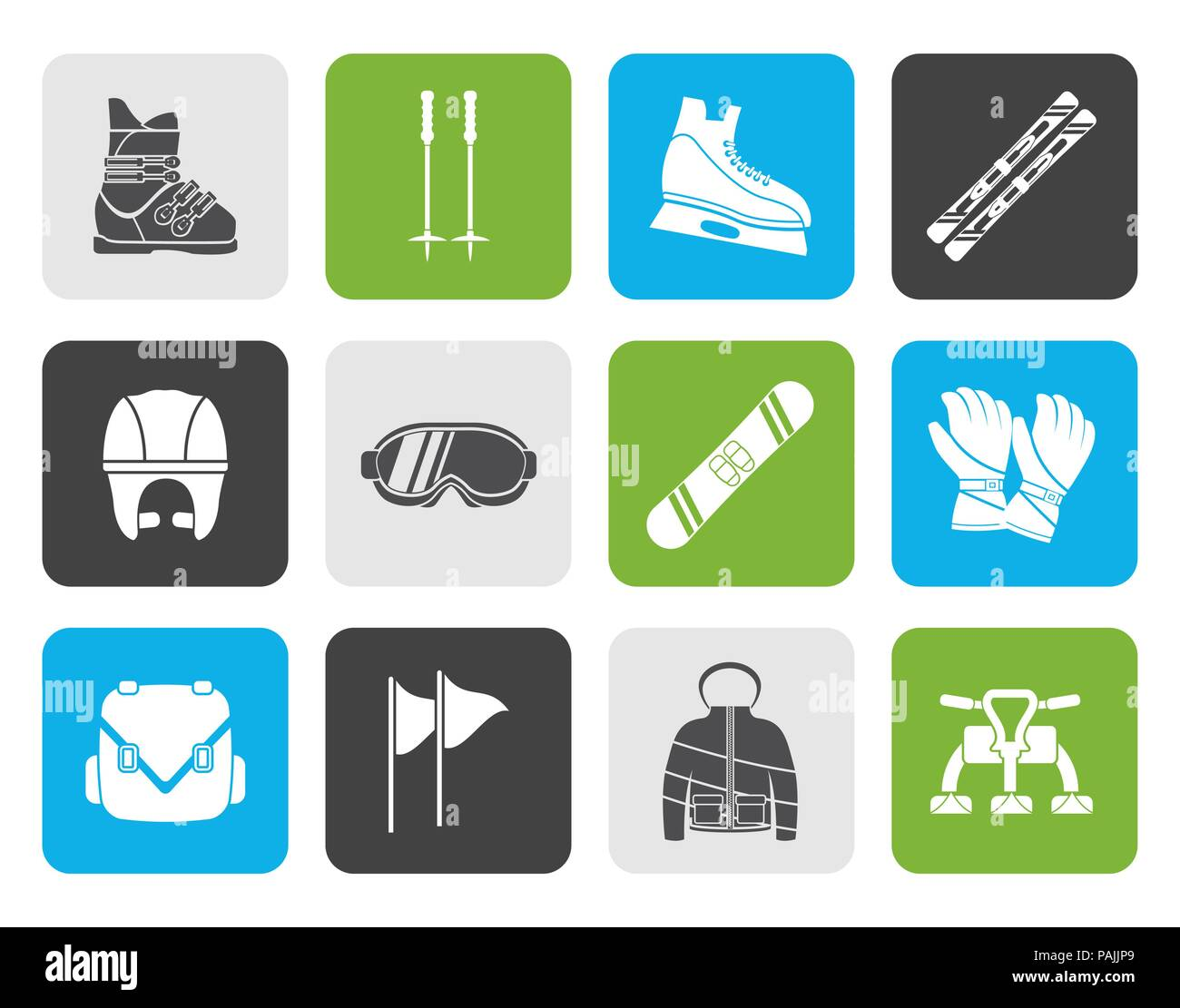 Flat ski and snowboard equipment icons - vector icon set - Stock Image