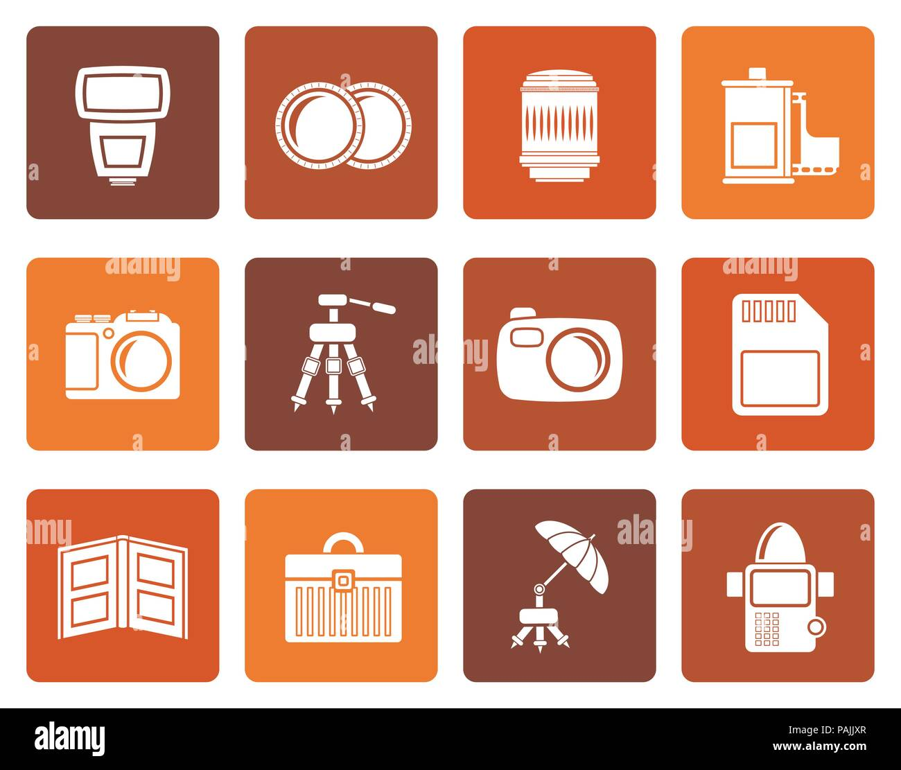 Flat Photography equipment icons - vector icon set Stock Vector