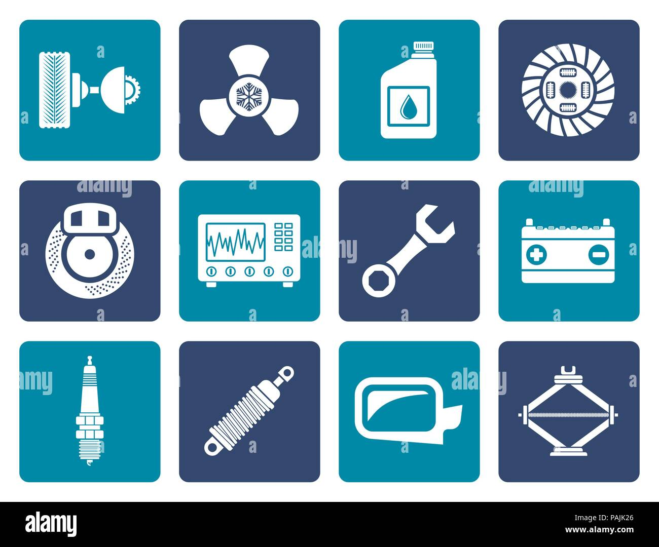 Flat Car Parts And Services Icons Vector Icon Set Stock Vector Art