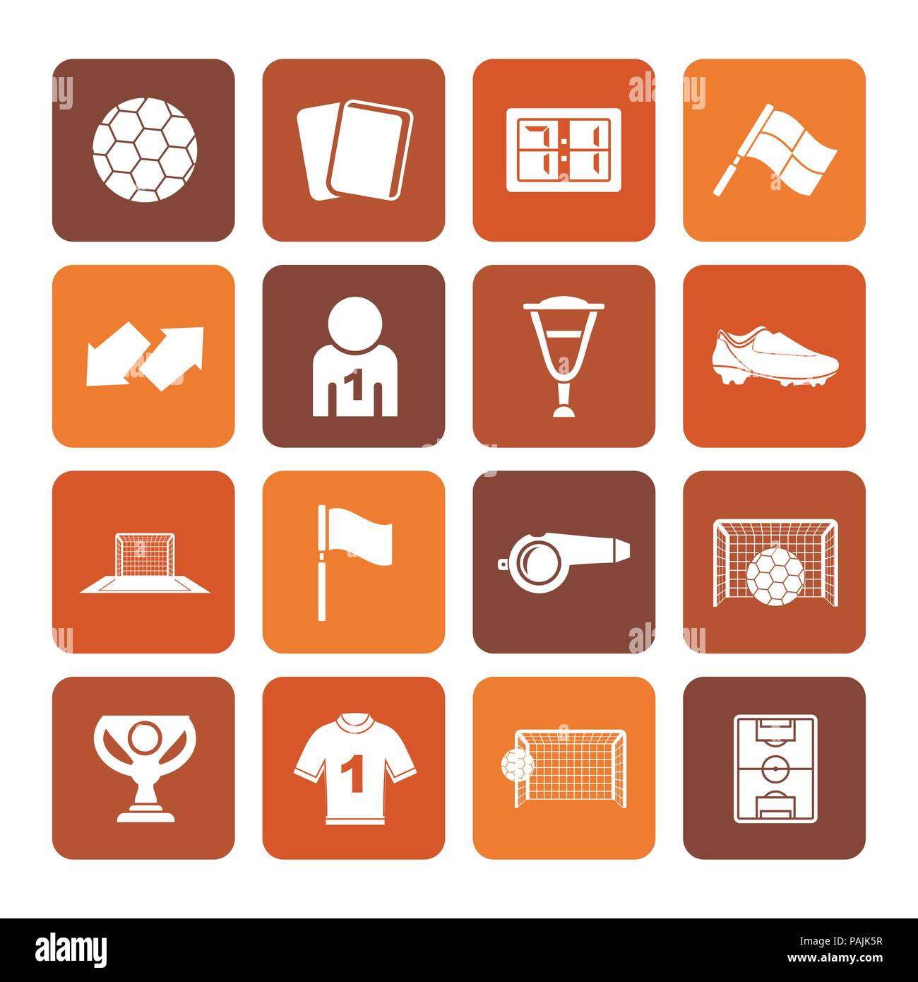 Flat football, soccer and sport icons - vector icon set Stock Vector