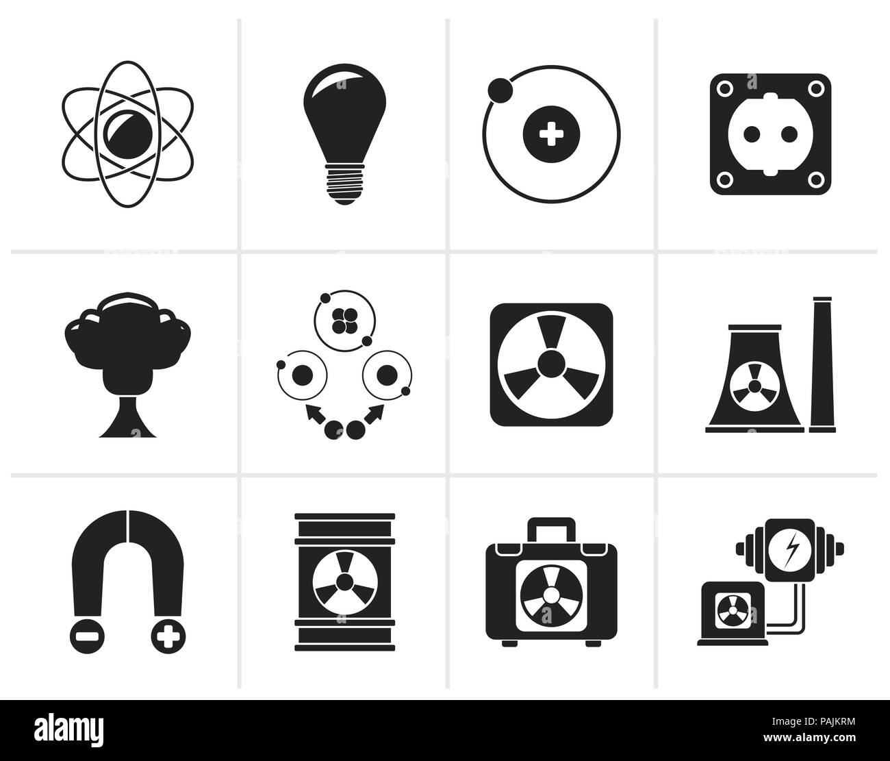Black Atomic and Nuclear Energy Icons - vector icon set Stock Vector