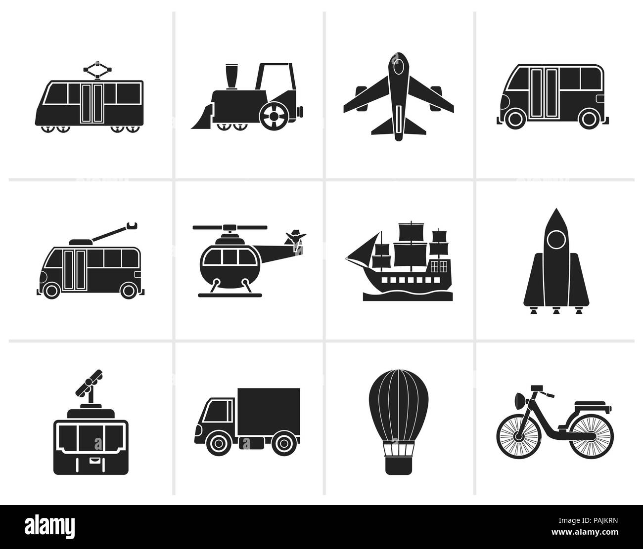 Black Travel and transportation icons - vector icon set - Stock Image