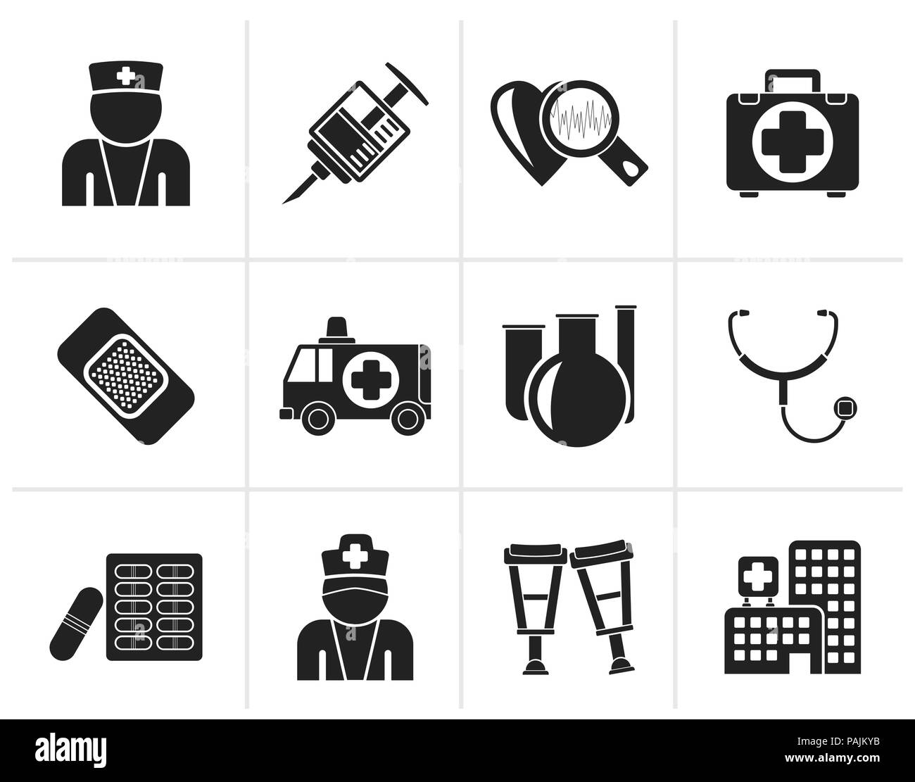 Black Medicine and healthcare icons - vector icon set - Stock Image