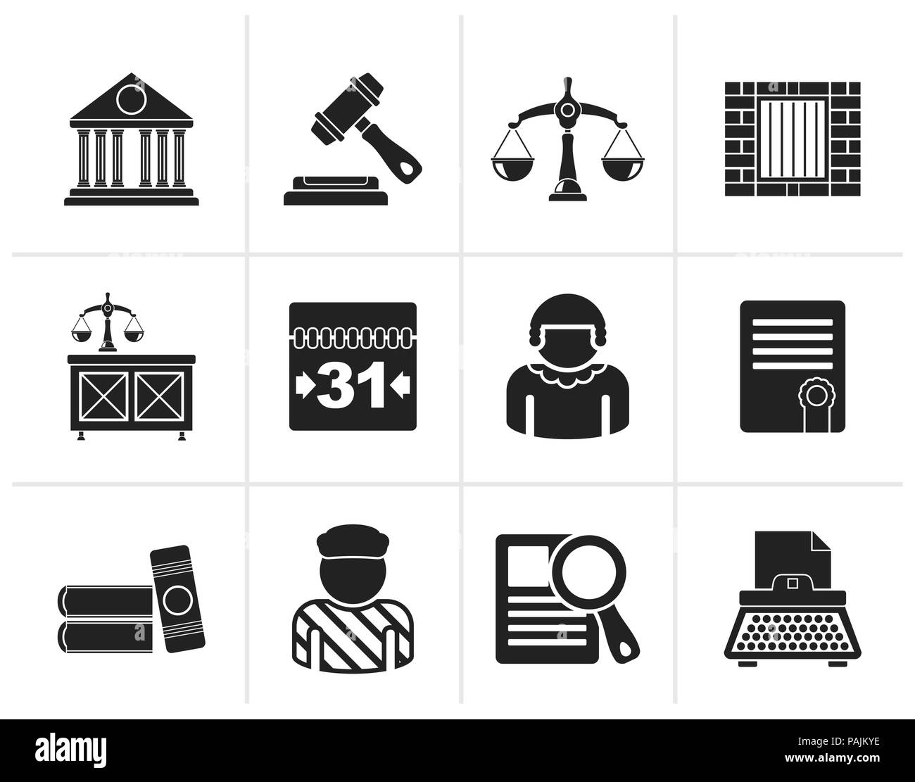Black Justice and Judicial System icons - vector icon set - Stock Image