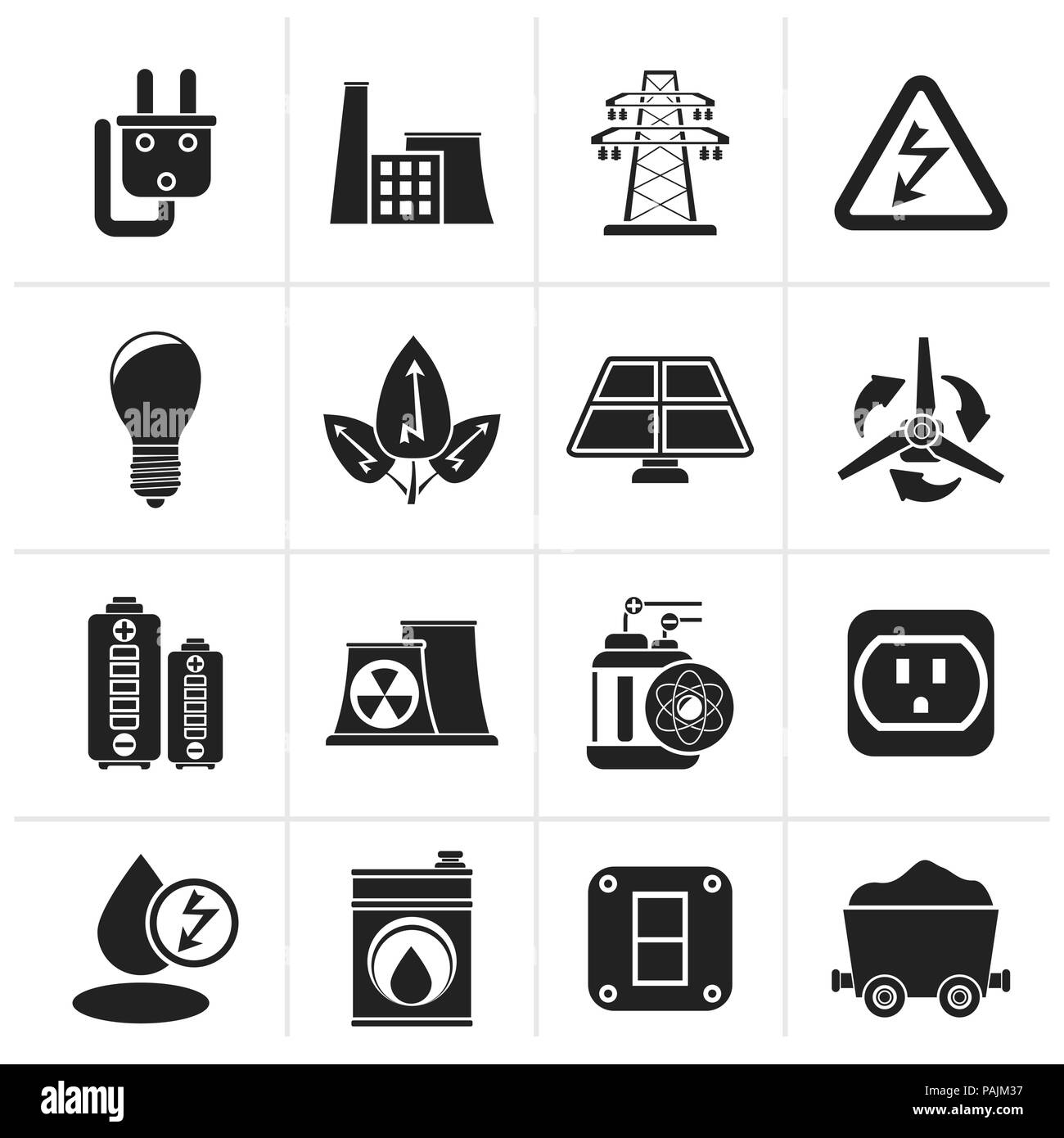 Black power, energy and electricity icons - vector icon set - Stock Image