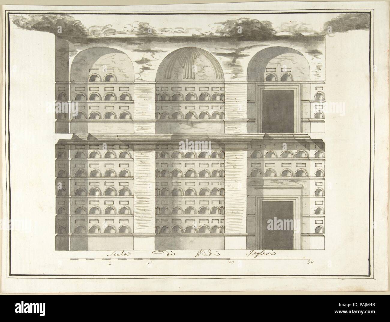 Section (Interior Elevation) of a Columbarium. Artist: Pietro Paolo Coccetti (Cocchetti) (Italian, documented Rome, 1710-1727). Dimensions: 13 1/8 x 17 5/8in. (33.4 x 44.8cm). Date: 1710-27. Museum: Metropolitan Museum of Art, New York, USA. - Stock Image