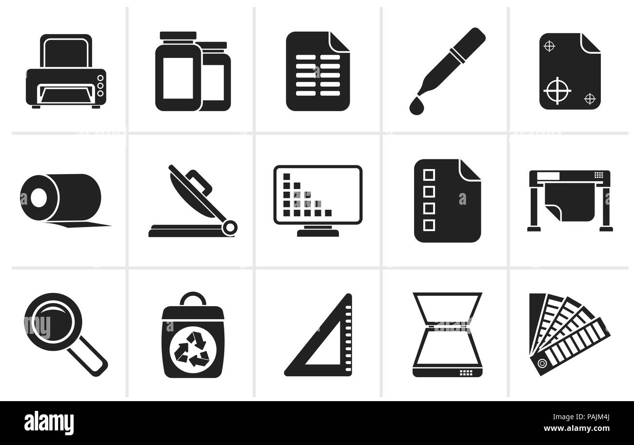 Black Commercial print icons - vector icon set - Stock Image