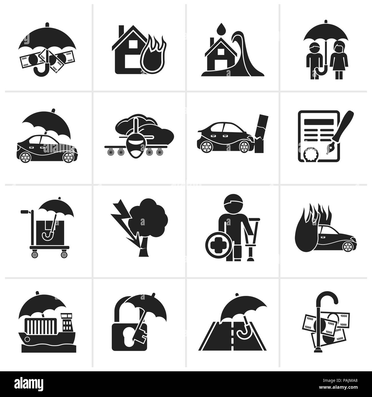 Black Insurance and risk icons - vector icon set - Stock Image