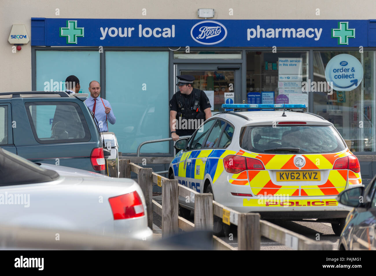 Boots the chemist sealed of and closed by Police during the novichok poisoning major incident - Stock Image
