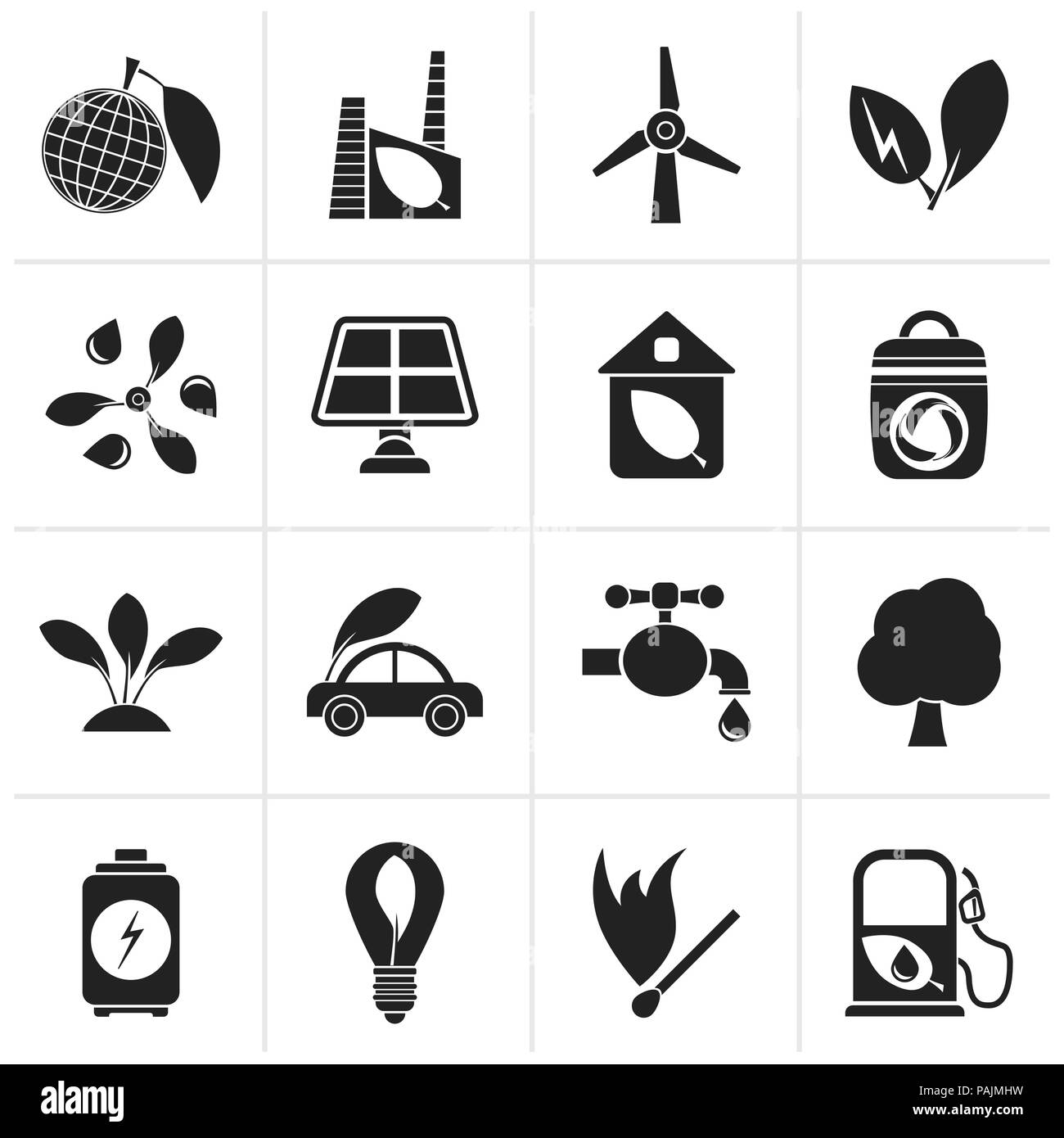 Black Green, Environment and ecology Icons - vector icon set - Stock Image