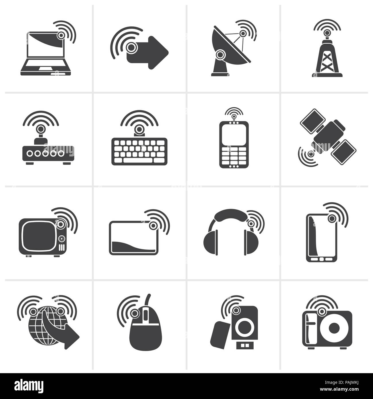 Black wireless and technology icons - vector icon set - Stock Image