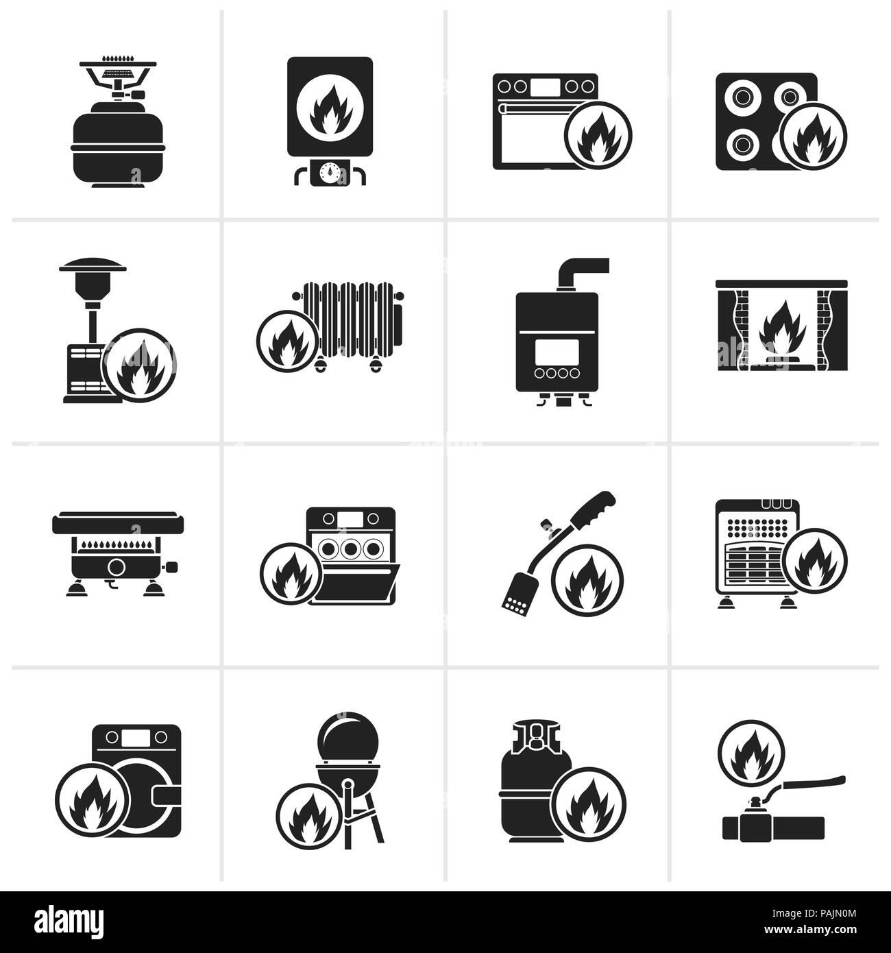 Black Household Gas Appliances icons - vector icon set - Stock Image