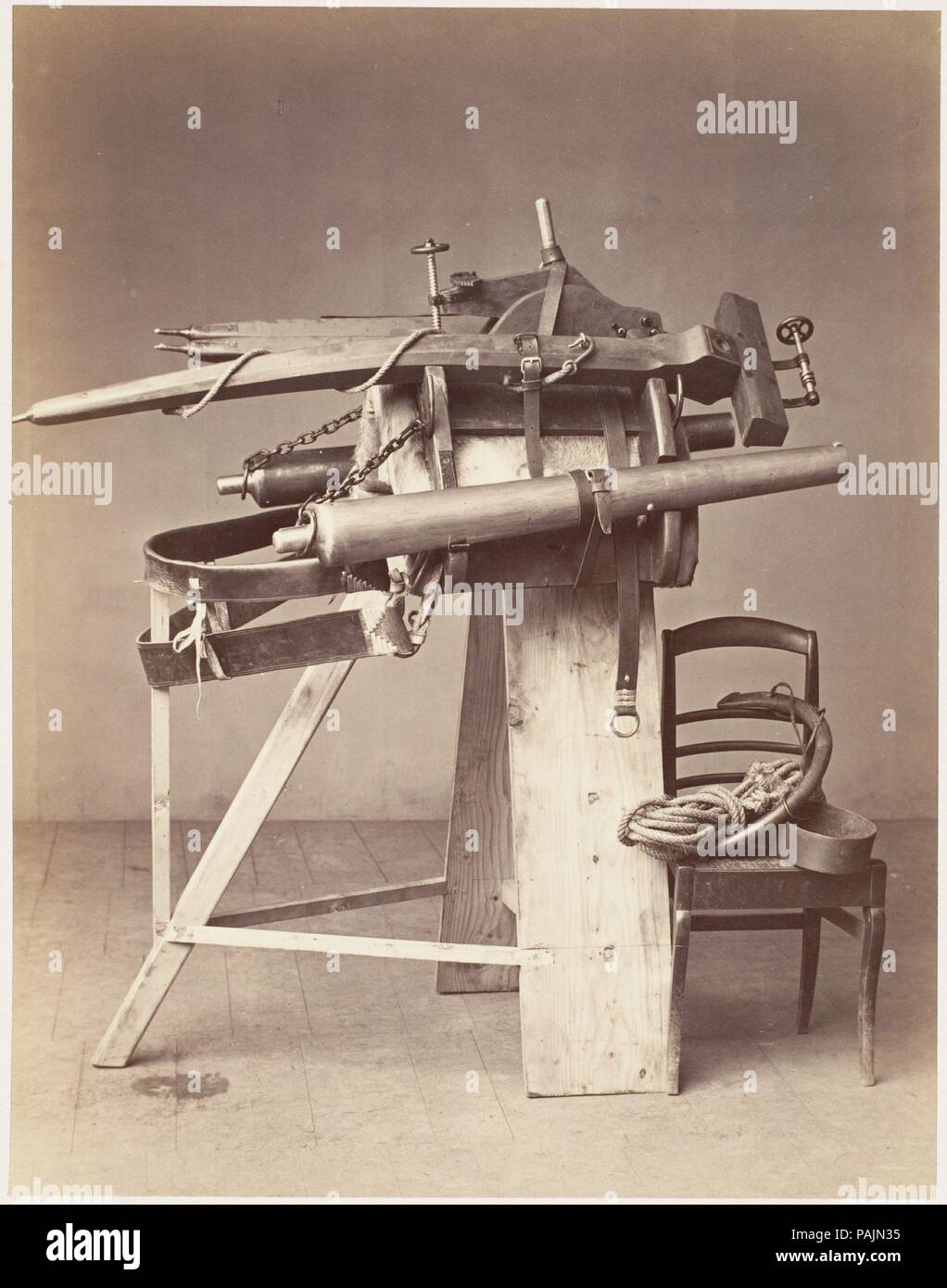 Saddle Mounted Cannon. Artist: Unknown (French). Dimensions: 18.9 x 14.8 cm (7 7/16 x 5 13/16 in. ). Date: 1860s.  The zamburak (Persian for 'little wasp') was a saddle-mounted cannon used in cavalry warfare in Central and Southeast Asia during the eighteenth and nineteenth centuries. Deployed not for accuracy but to disrupt enemy formations, the cannons were attached to pivots and fired directly from a camel's back with the animal on its knees. Here a rudimentary sawhorse has replaced the camel, and the threat of the weapon has been defused by the innocuous setting of a photographer's studio. - Stock Image