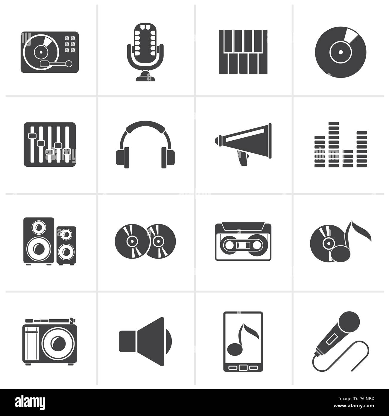 Black Music and audio equipment icons - vector icon set - Stock Image