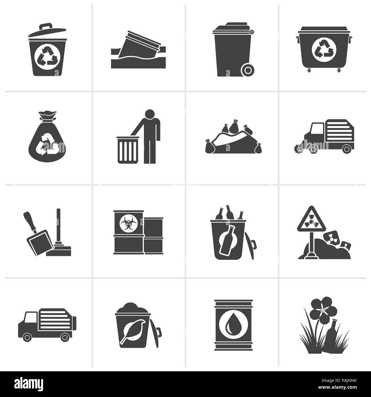 Black Garbage and rubbish icons - vector icon set - Stock Vector