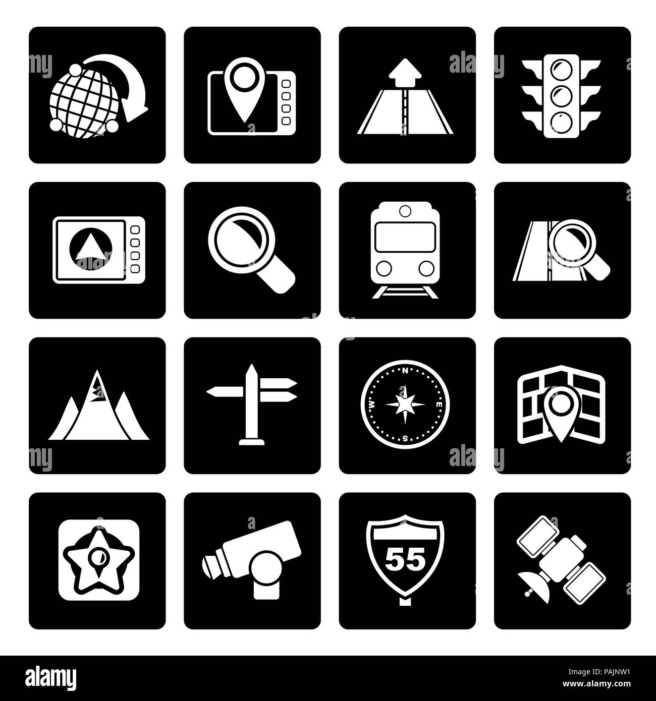 Black Map, navigation and Location Icons -vector icon set - Stock Vector