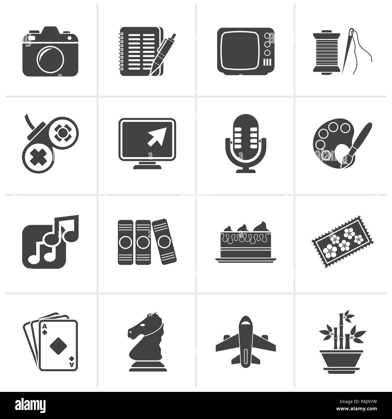 Black Hobbies and leisure Icons - vector icon set Stock Vector