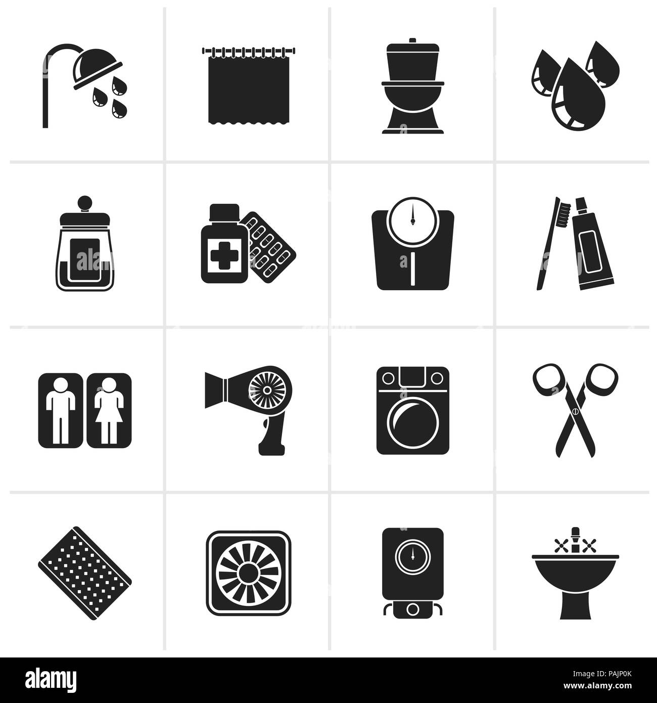 Black Bathroom and Personal Care icons- vector icon set 2 - Stock Image