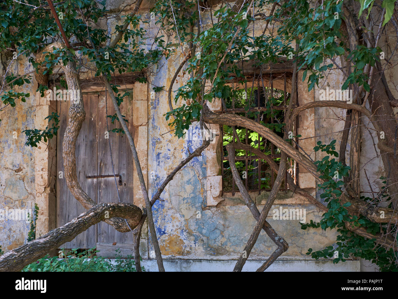 Old, earthquake damaged building in Assos. Cephalonia, Ionian Islands, Greece. - Stock Image