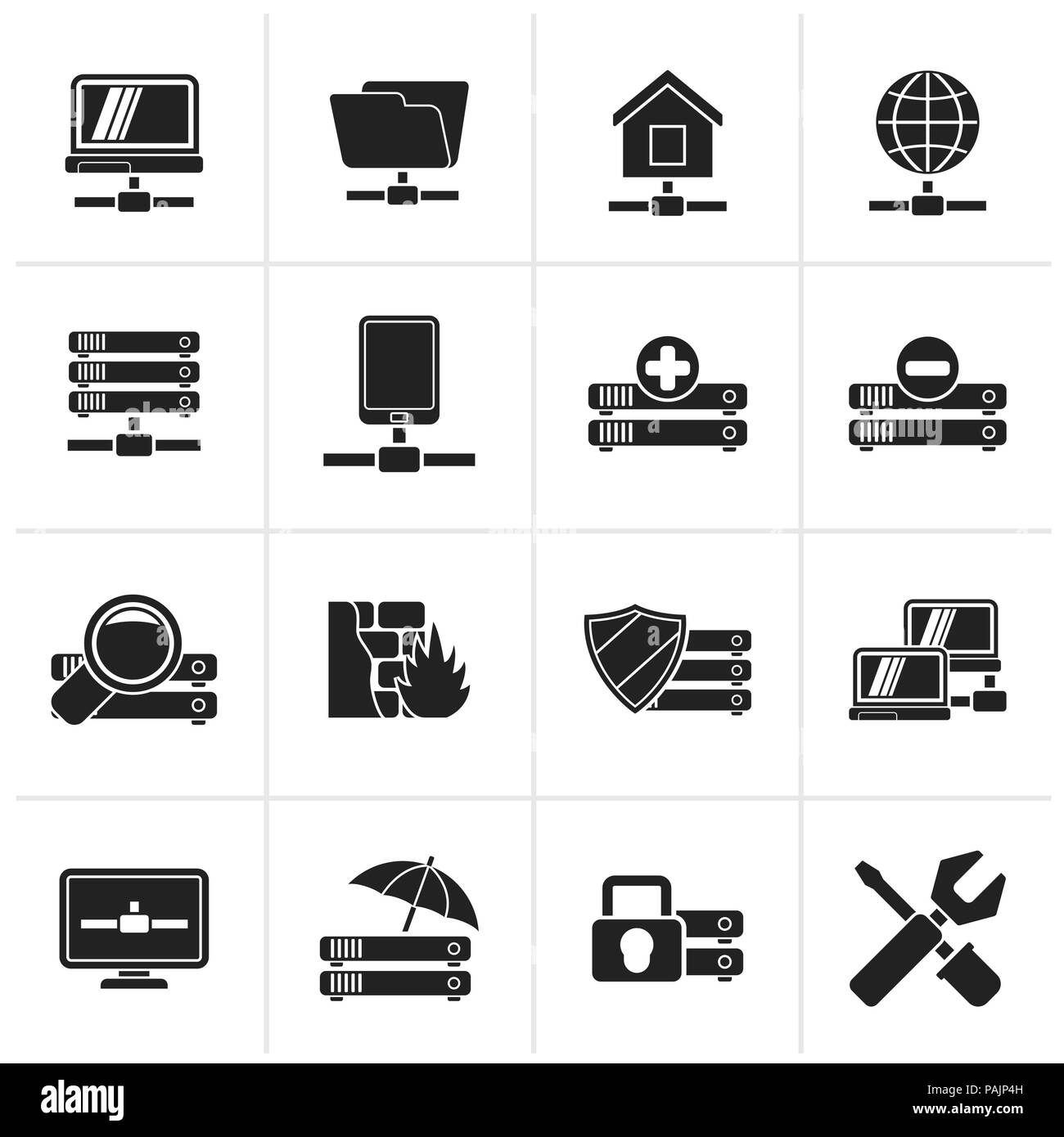 Black server, hosting and internet icons - vector icon set