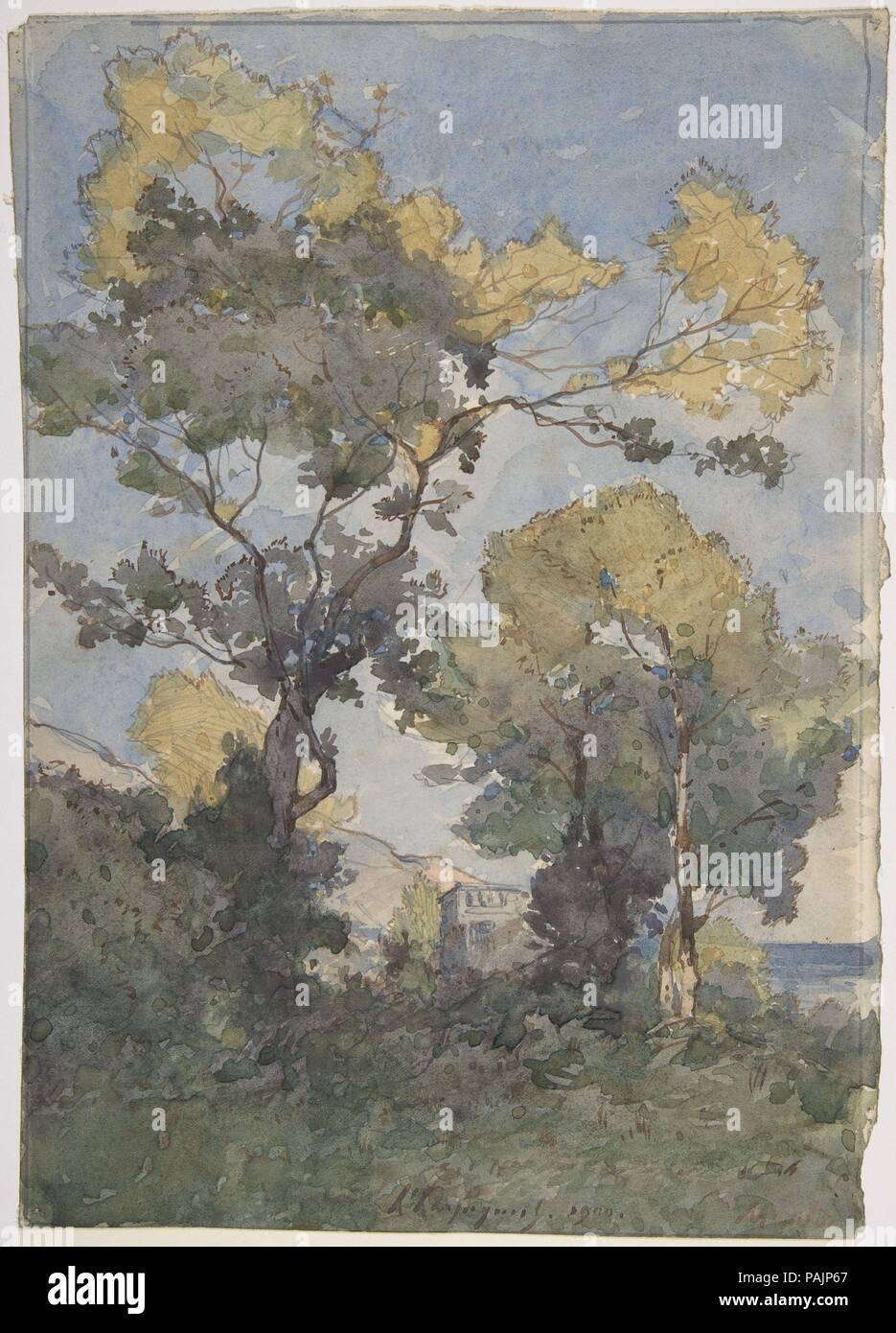 Landscape. Artist: Henri-Joseph Harpignies (French, Valenciennes 1819-1916 Saint-Privé). Dimensions: Overall: 11 1/16 x 7 13/16in. (28.1 x 19.8cm)  frame: 21 x 16 in. (53.3 cm). Date: 1900. Museum: Metropolitan Museum of Art, New York, USA. - Stock Image