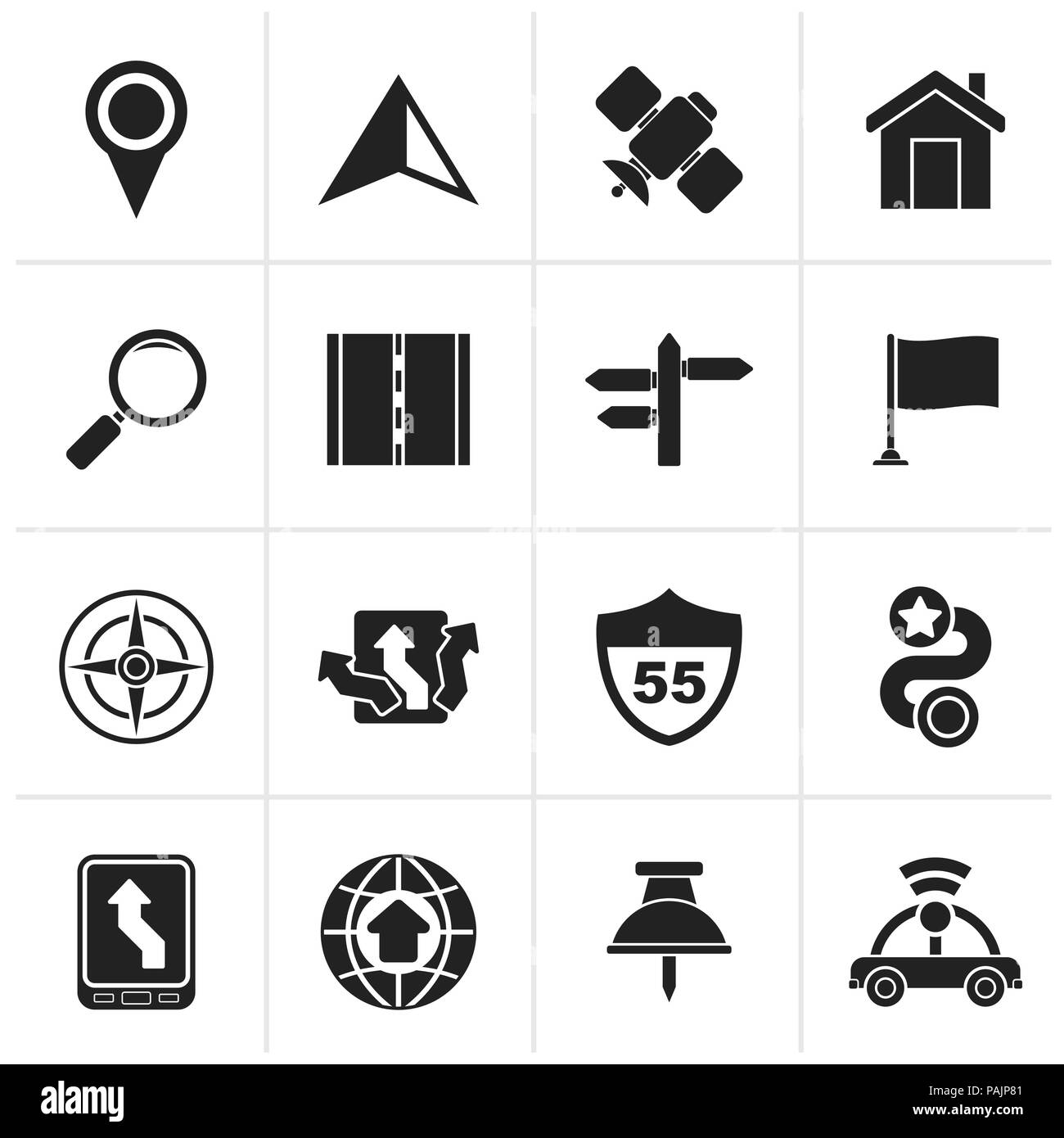 Black Gps, navigation and road icons - vector icon set - Stock Image