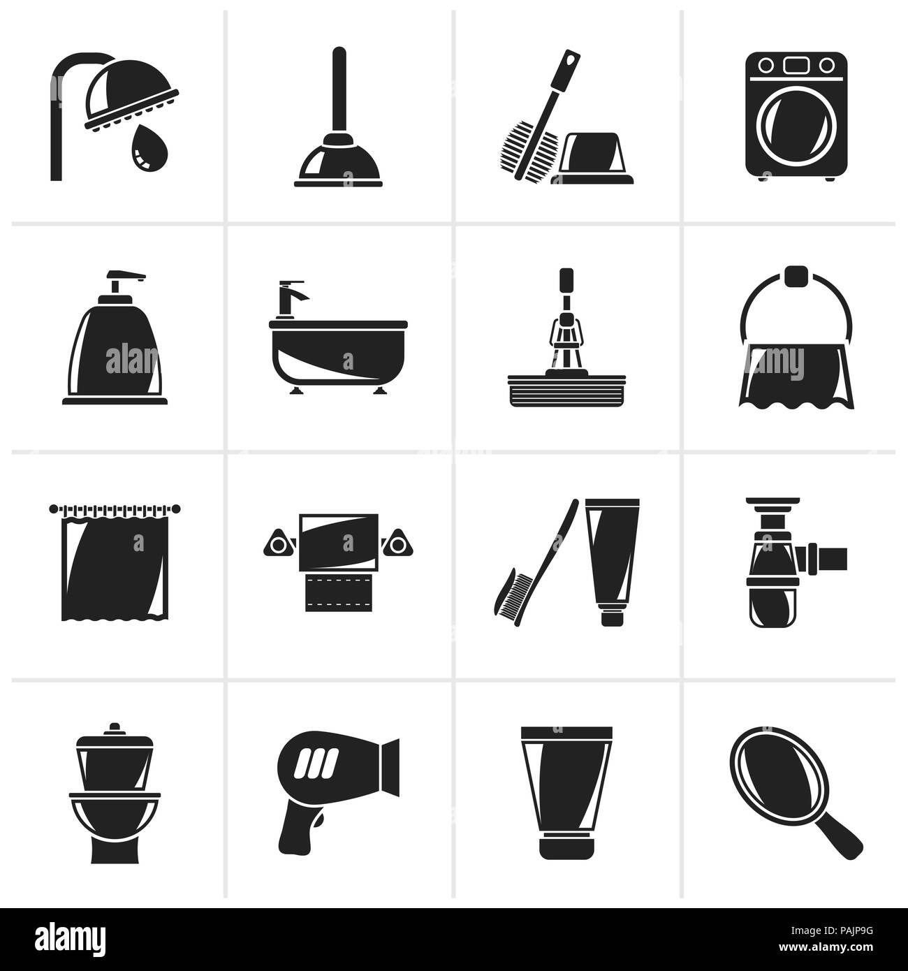 Black Bathroom and hygiene objects icons -vector icon set - Stock Image