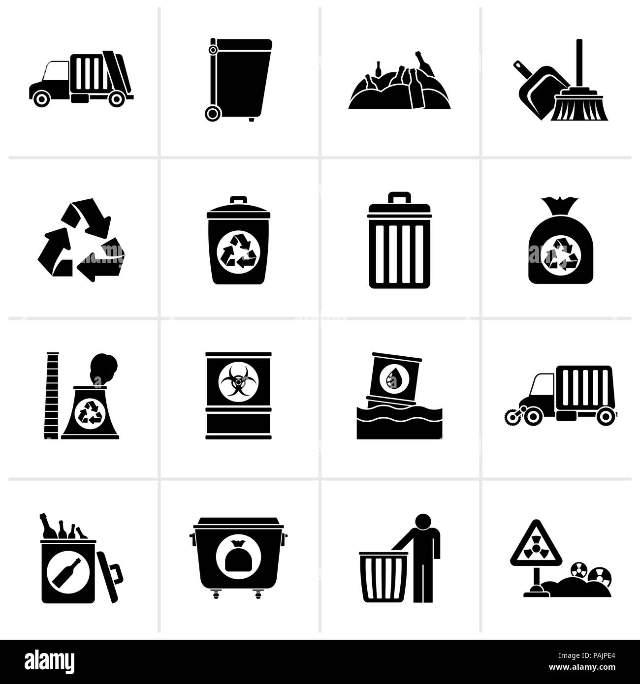 Black Garbage, cleaning and rubbish icons - vector icon set - Stock Vector