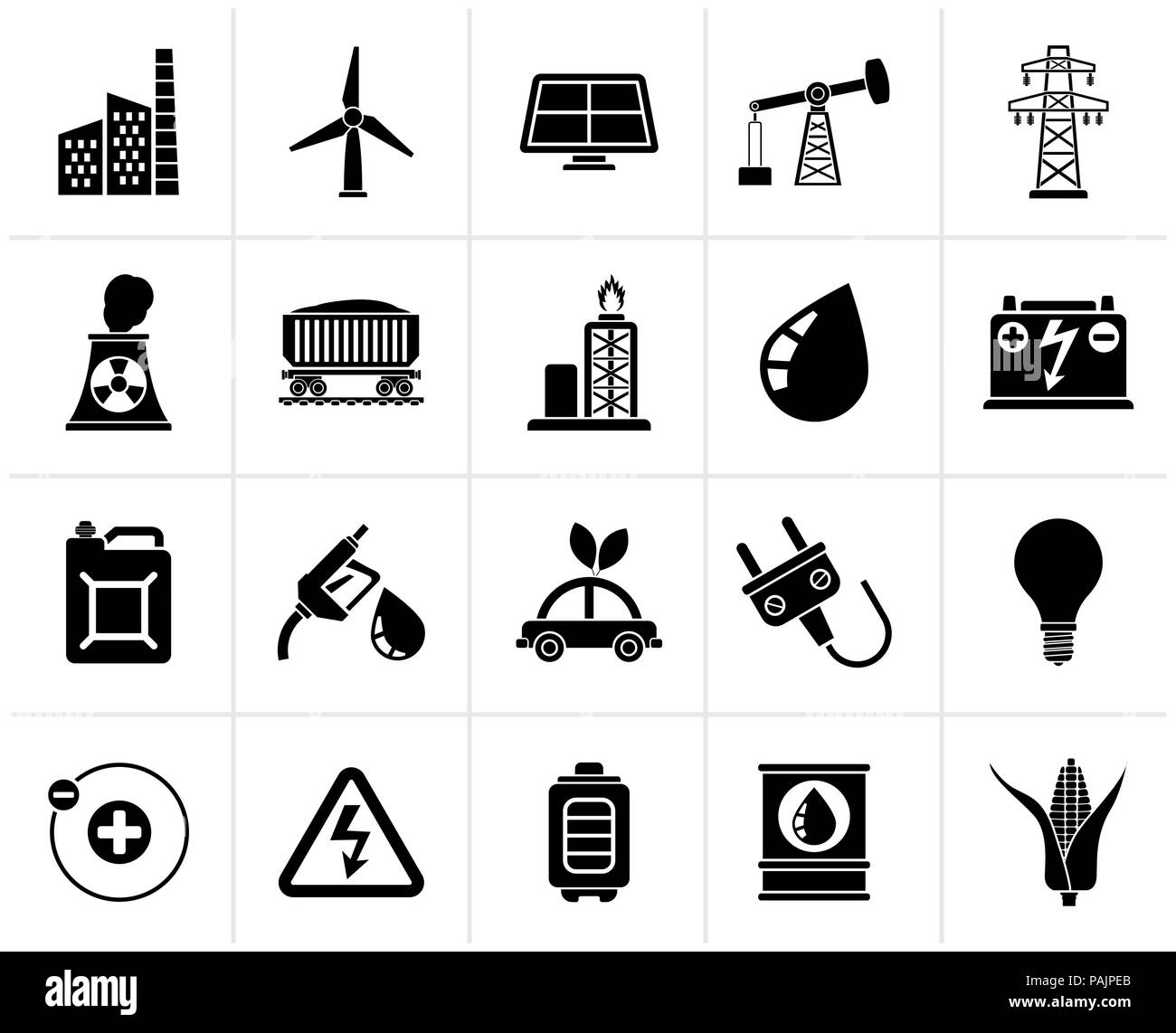 Black Power, energy and electricity Source icons - vector icon set - Stock Image