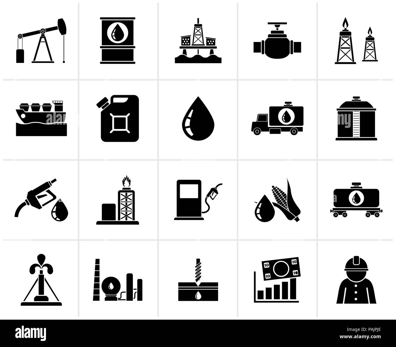 Black Oil industry, Gas production, transportation and storage icons - vector icon set - Stock Image