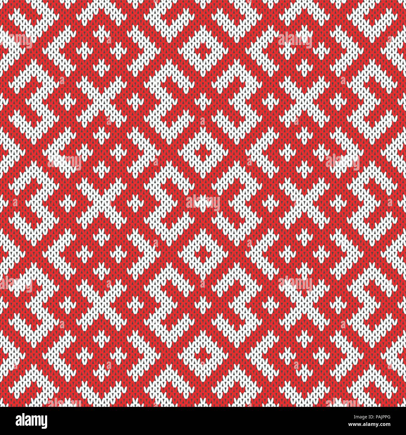 Seamless Knitting Pattern.Based on traditional Russian ornament.Red and white.Wool Knit Texture Imitation. - Stock Vector
