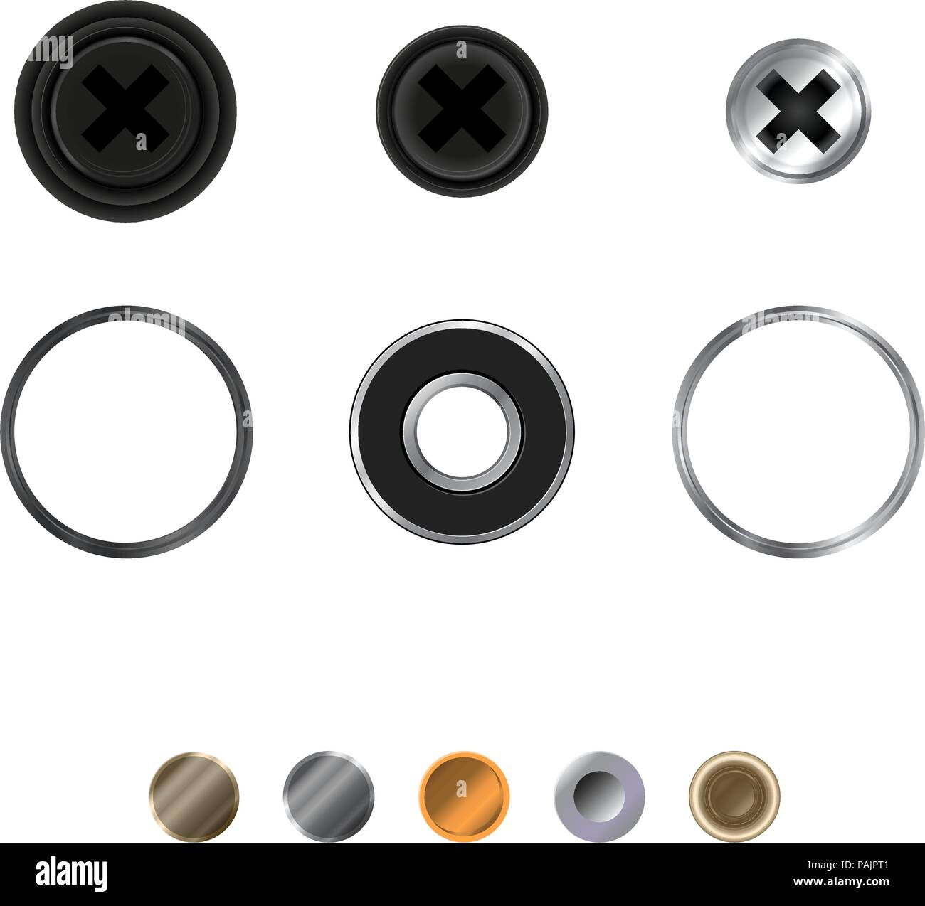 Screws, Washers and Rivets. Realistic Illustration, Top View. Vector Design Elements Set for You Design - Stock Image