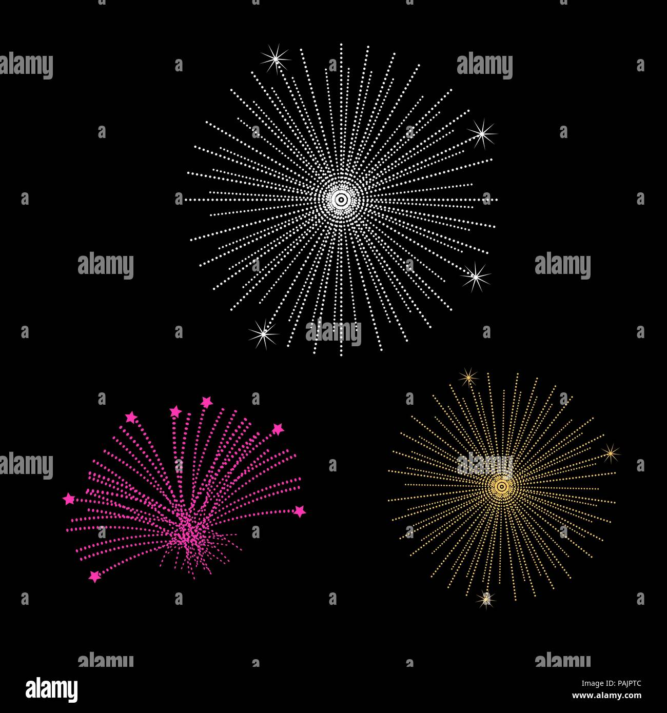 Fireworks Isolated on Black. Vector Design Elements Set for You Design Stock Vector