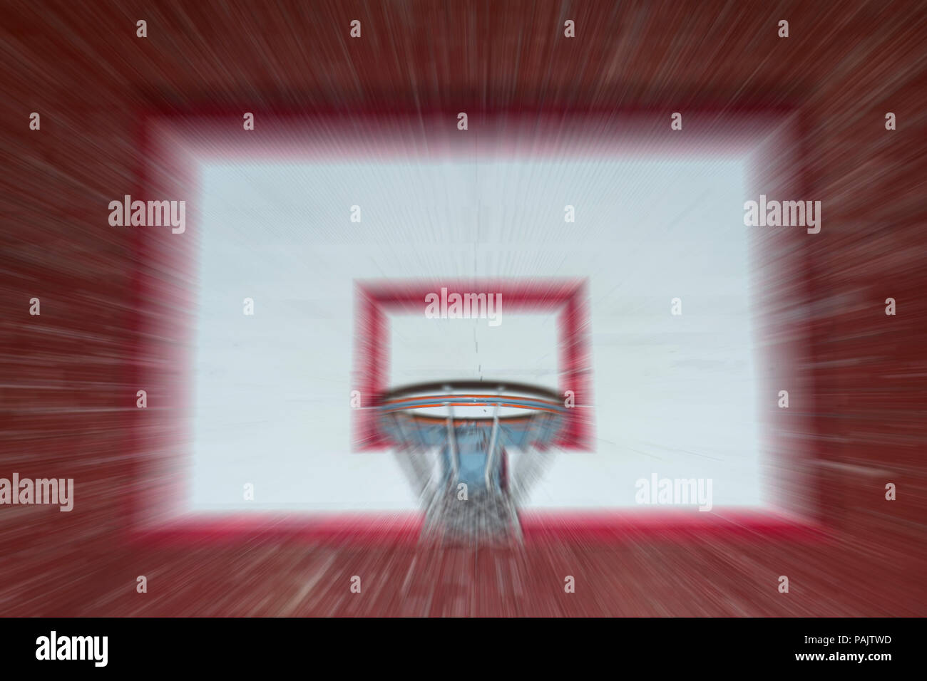 absract zoom in moving basketball game - Stock Image