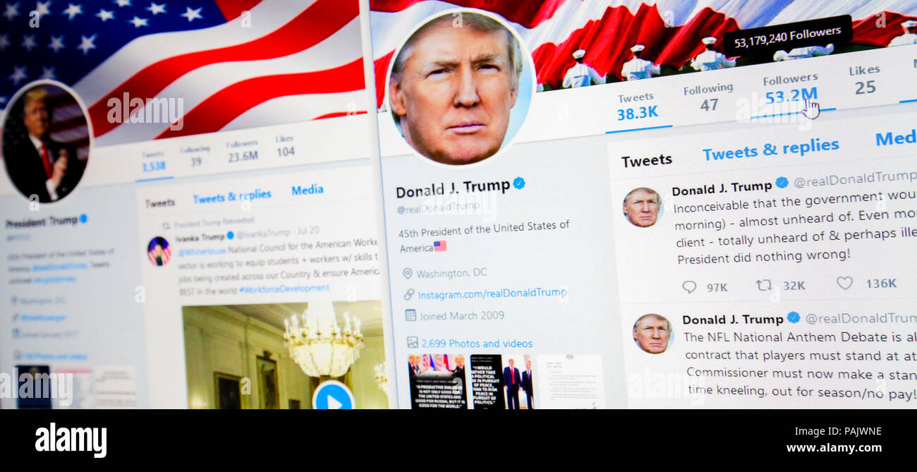 Brussels, Belgium - July 21, 2018: The official twitter pages @POTUS and @RealDonaldTrump of Donald J. Trump, 45th President of the USA. - Stock Image