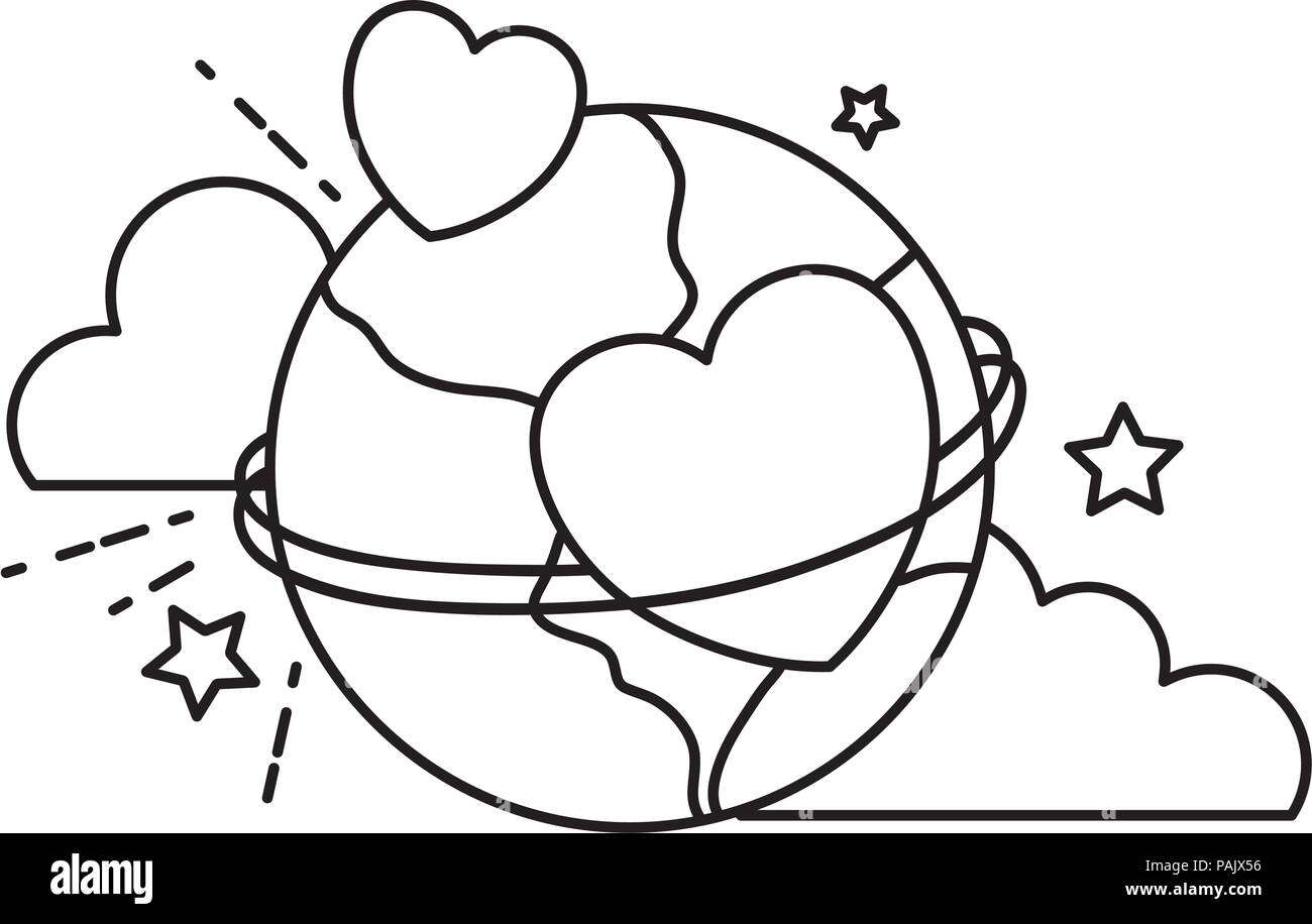 line earth planet with hearts decoration and clouds - Stock Image