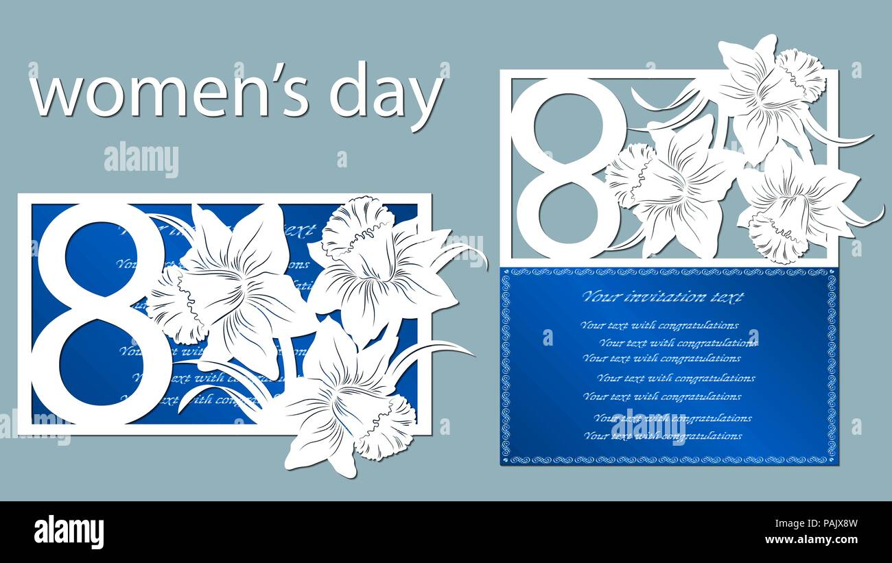 Decoration for women's day - 8 March  Narcissus  Template