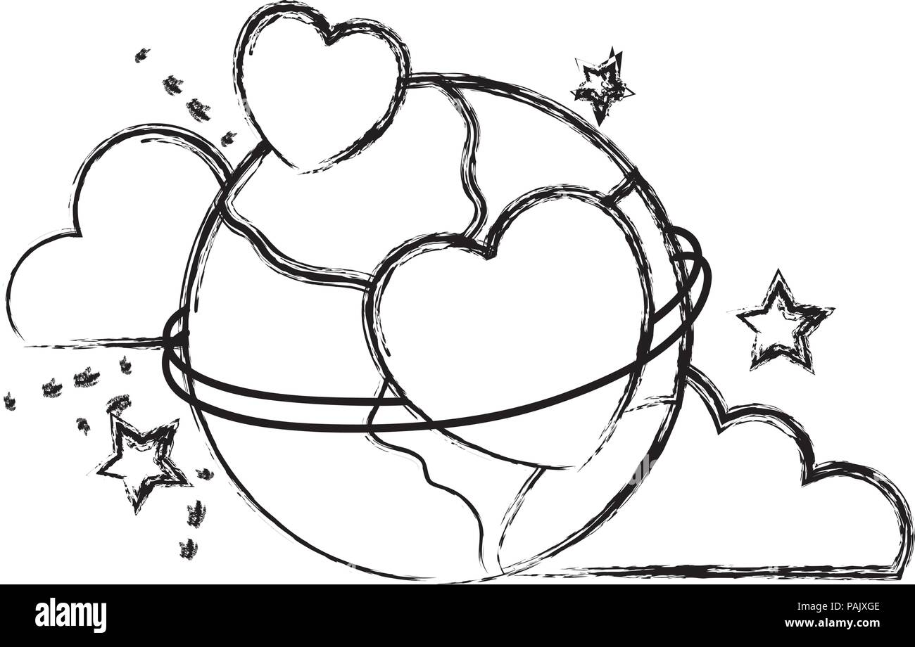 grunge earth planet with hearts decoration and clouds - Stock Image