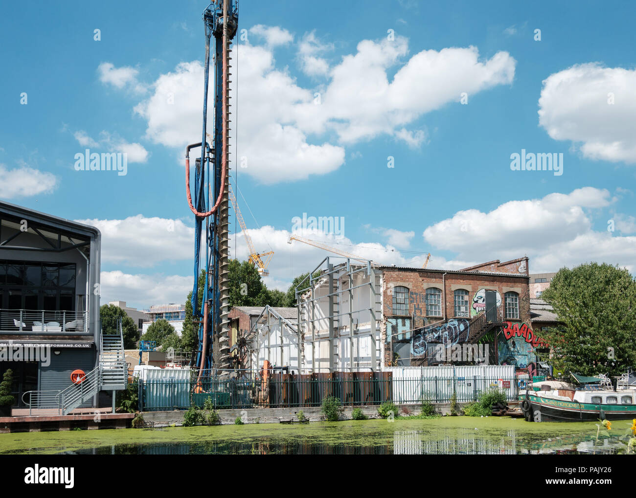 Artist studios at Vittoria Wharf, Hackney Wick, East London, 50% demolished to make way for a spare pedestrian bridge to the Olympic Park Stock Photo