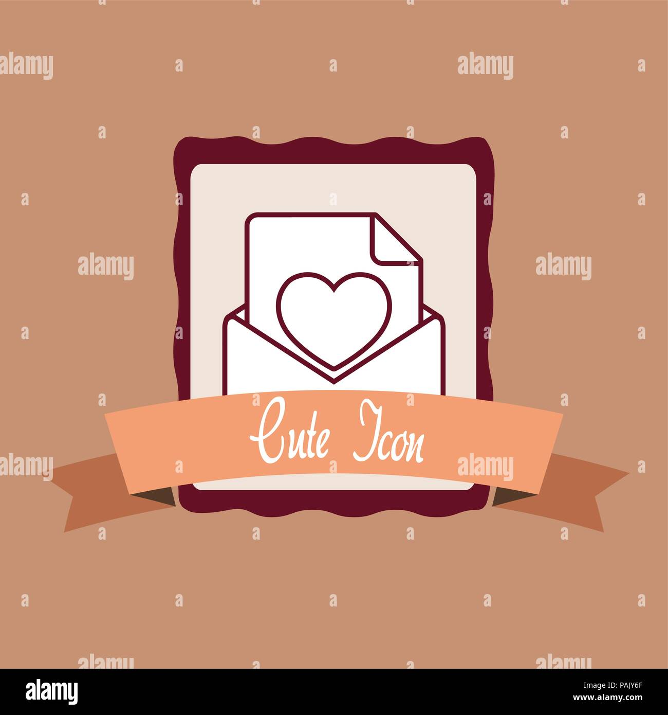 emblem with cute love letter and decorative ribbon over brown background colorful design vector illustration