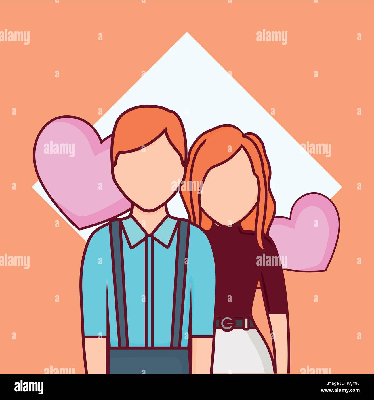 online dating design with avatar couple and hearts over background, colorful design. vector illustration  Stock Vector